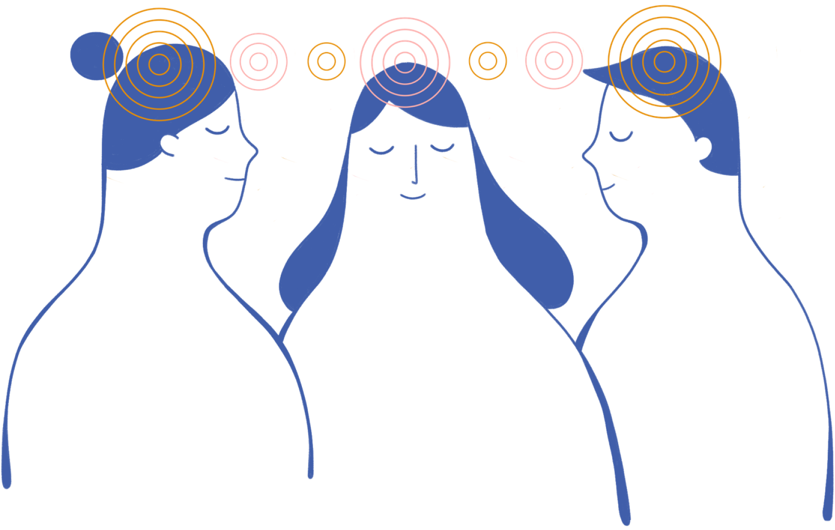 stylized drawing of three calm people with circles connecting their minds